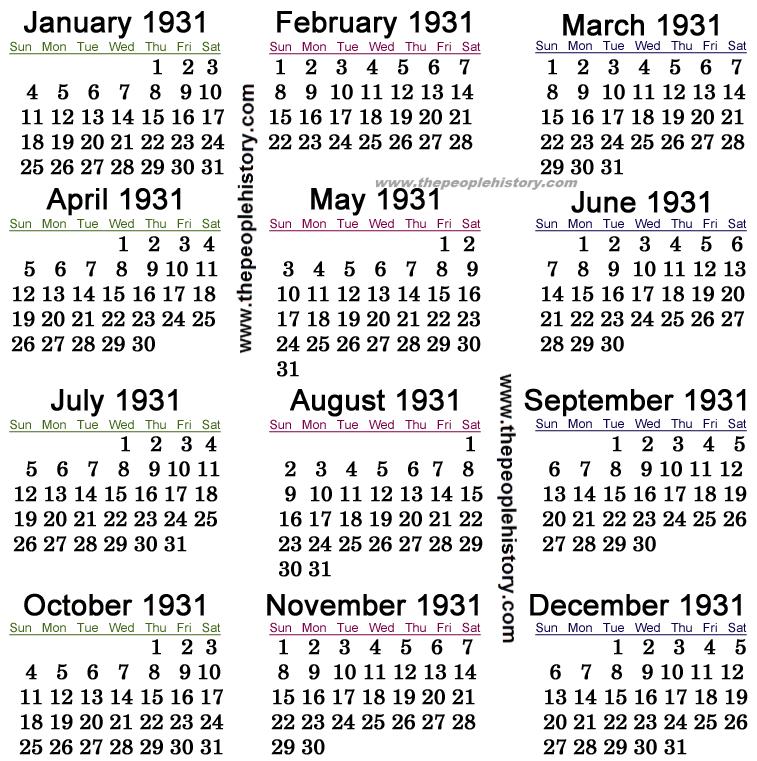 1931 Calendar