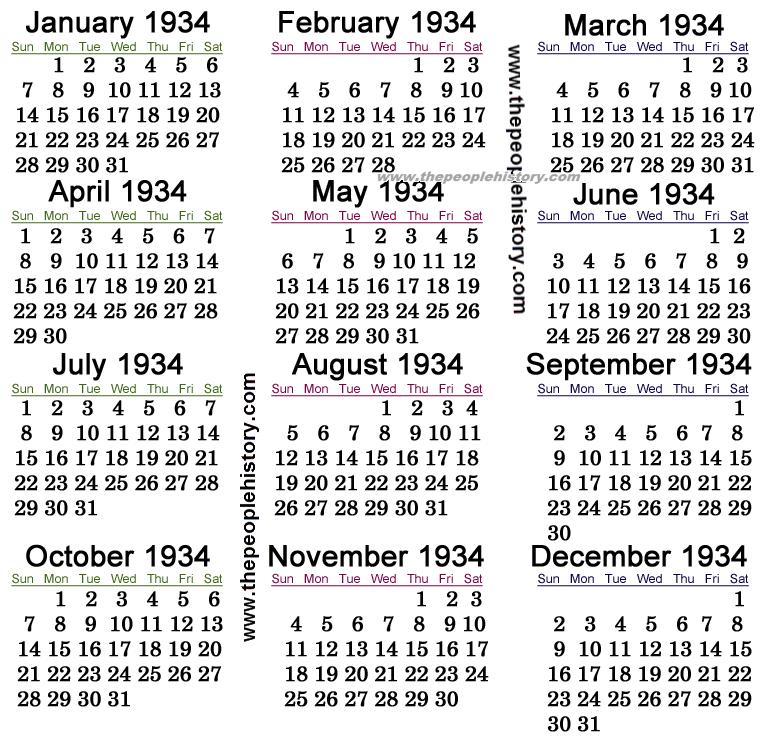 1934 Calendar