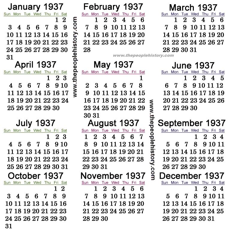 1937 Calendar