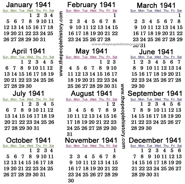 1941 Calendar