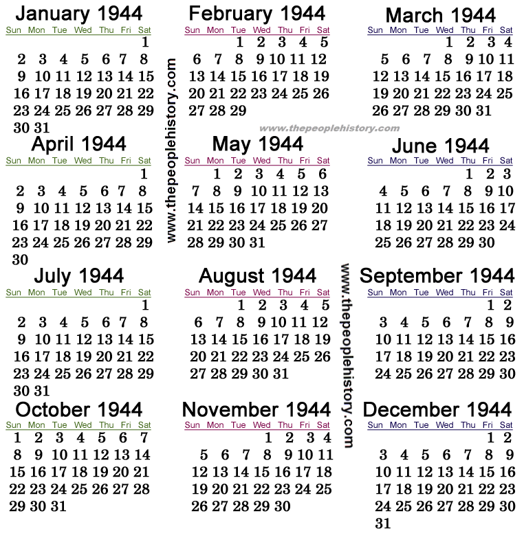 1944 Calendar
