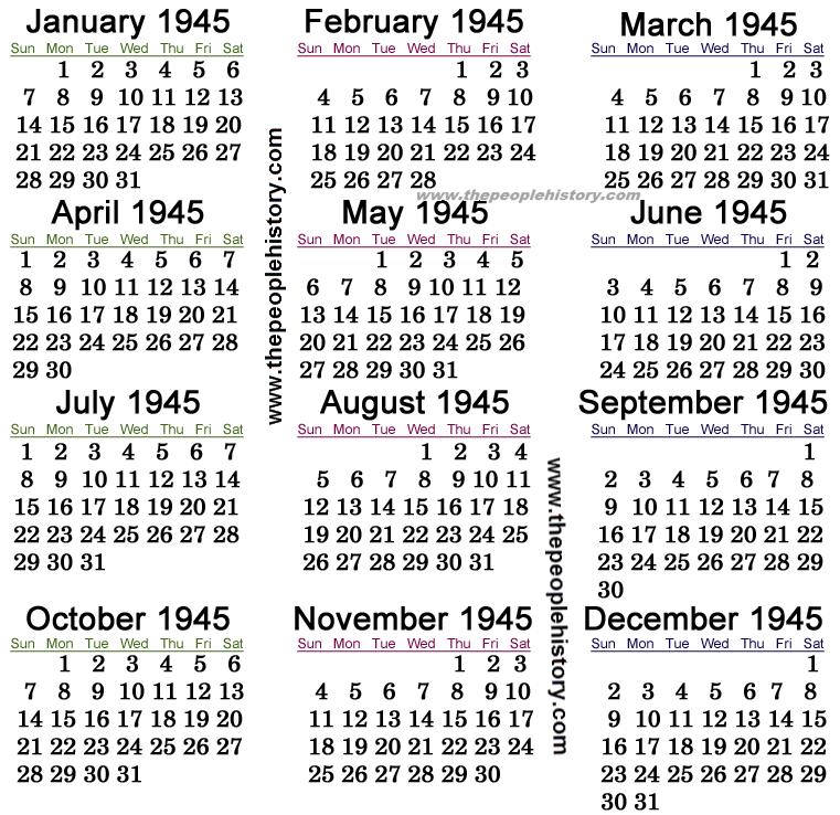 1945 Calendar
