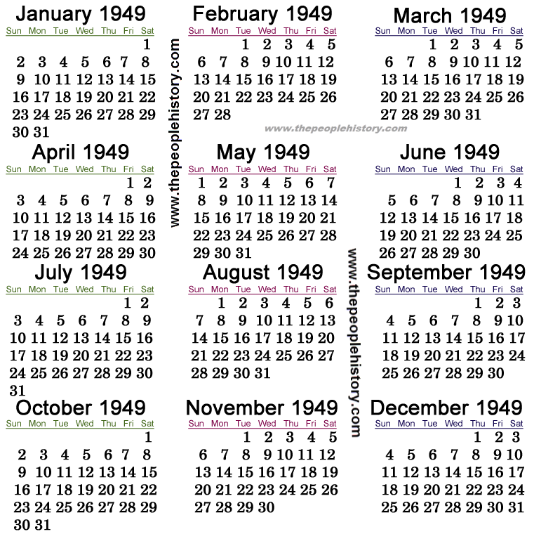 1949 Calendar