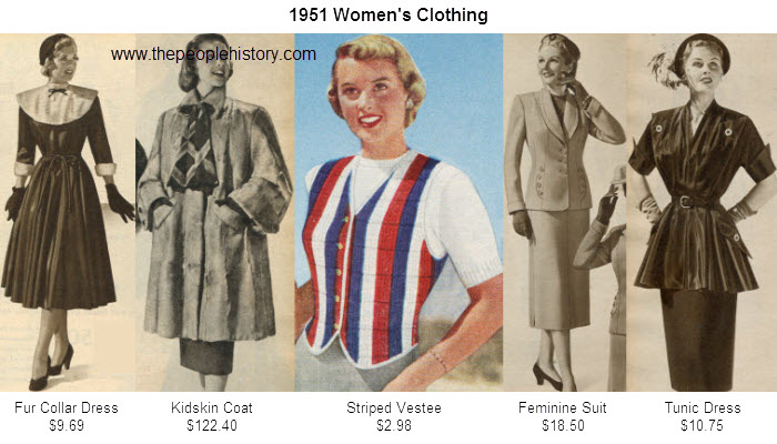 Women's Fashion Clothing Examples From 1951