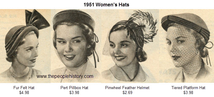 Ladies Hats Examples From 1951