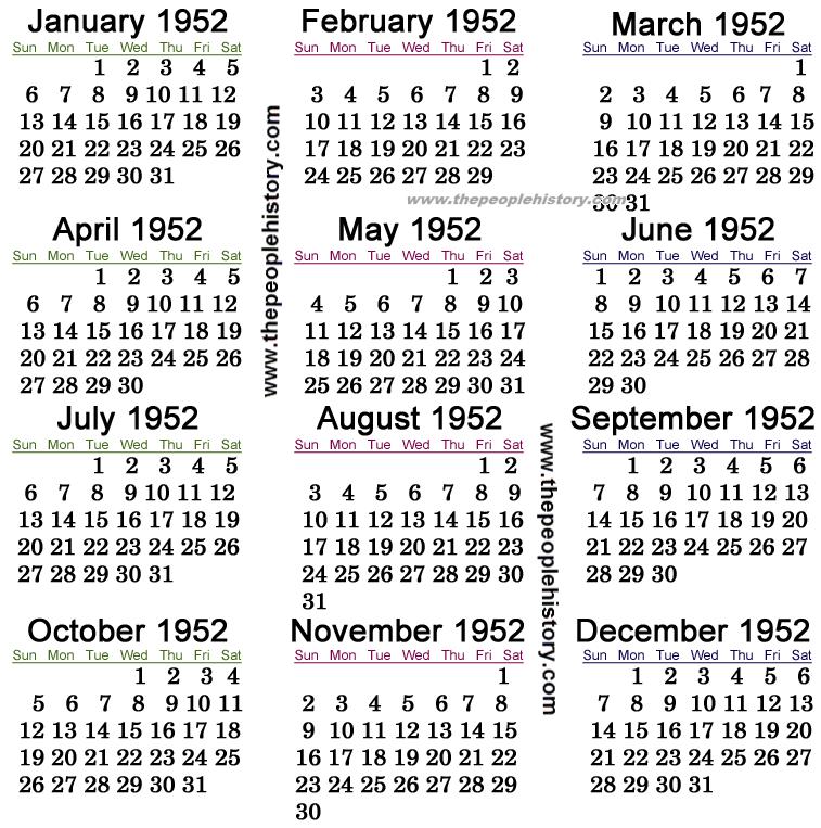 1952 Calendar
