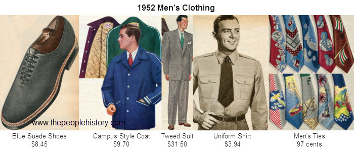 Mens Fashion Clothing Examples From 1952