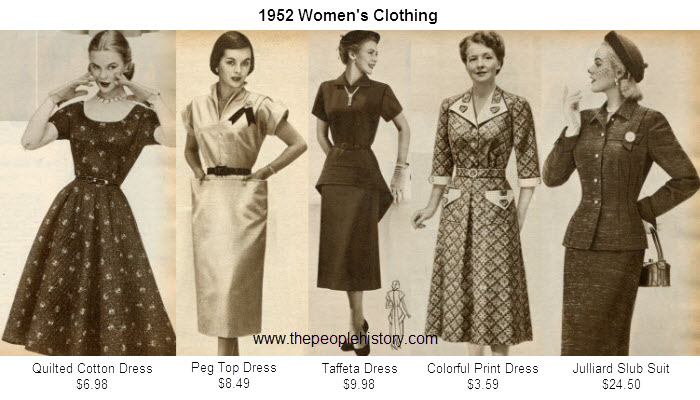 Women's Fashion Clothing Examples From 1952