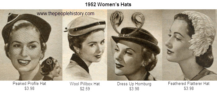 Ladies Hats Examples From 1952