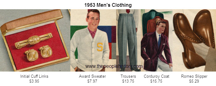 Mens Fashion Clothing Examples From 1953