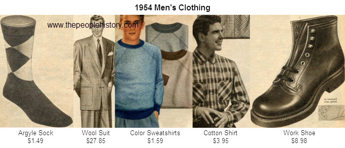 Mens Fashion Clothing Examples From 1954