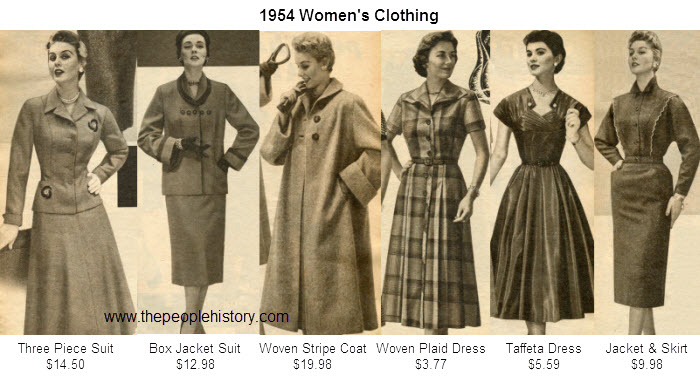 Women's Fashion Clothing Examples From 1954