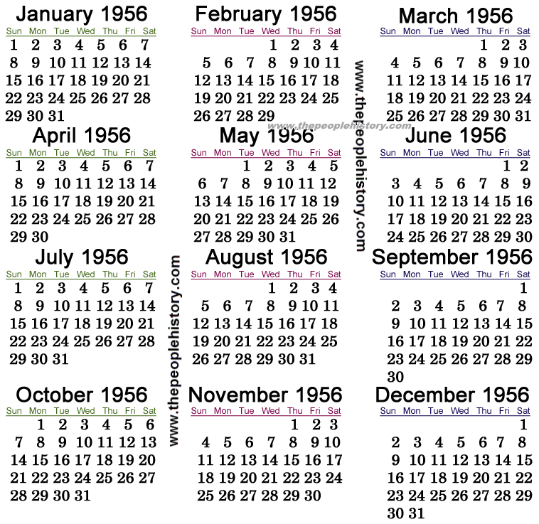 Year Calendar History : What happened in including pop culture significant