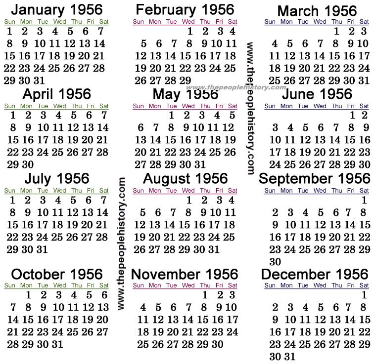 1956 Calendar