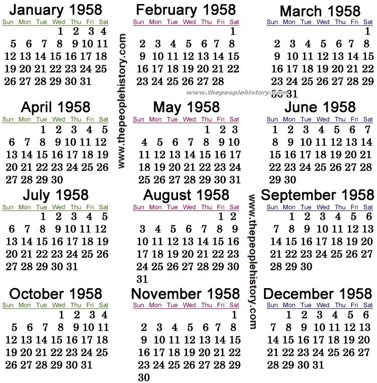 1958 Calendar