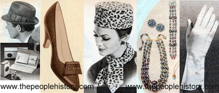 Fashion Accessories Examples From 1960 including Tweed Check Hat, Wallet Set, Step In Pump, Tall Leopard Pillbox and Ascot, Austrian Crystal Set, Embroidery Button Gloves