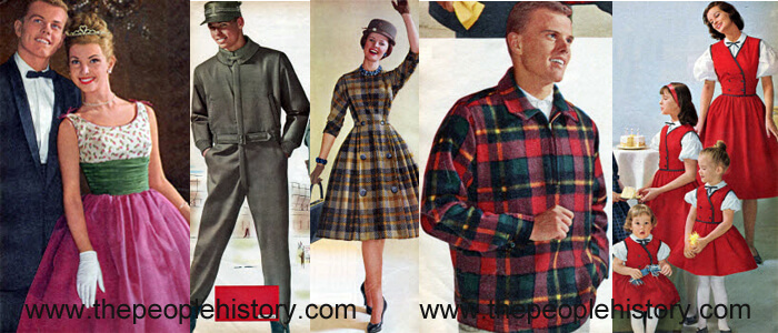 Fashion Clothing Examples From 1960 including Floral Print Formal Dress, Sportsman Suit, Princess Panel Dress, Plaid Pullover, Lookalike Outfits