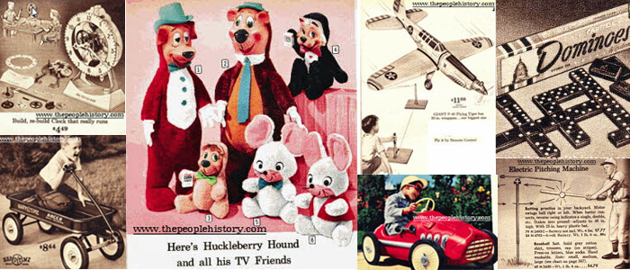 1960 Toys including  Build A Clock, Wagon, Huckleberry Hound Toys, Gas Powered Plane, Pedal Racer, Dominoes, Pitching Machine