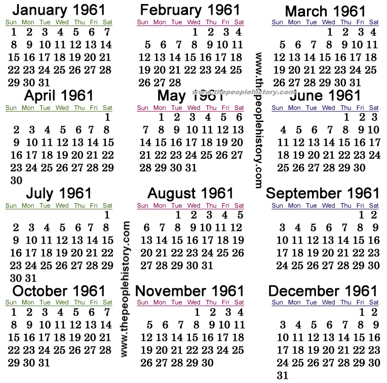 1961 Calendar