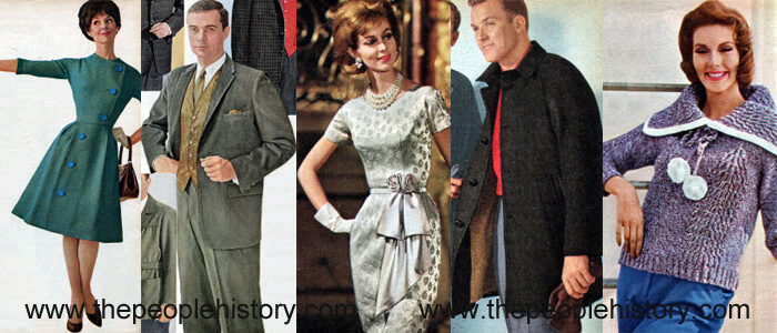 Fashion Clothing Examples From 1961 including Asymmetrical Dress, Corduroy Sport Suit, Brocade Sheath Dress, Suburban Coat, Knit Pullover Sweater