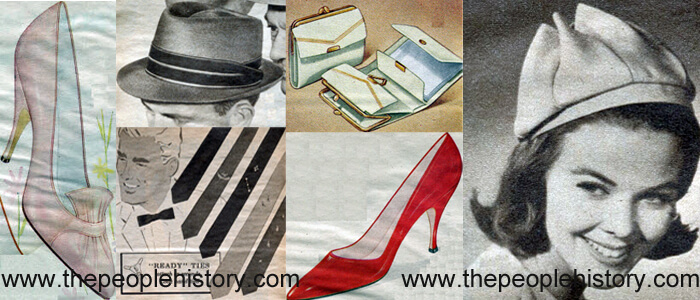 Fashion Accessories Examples From 1962 Tapered Toe Pump, Telescope Hat, Ready Ties, French Purse, Red Patent Pump, Pixie Beret