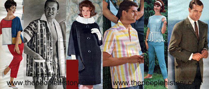Fashion Clothing Examples From 1962  Colorblock Pajamas, Mens Cabana Set, Mink Collar Coat, Striped Top, Tunic and Capri Pants, Overplaid Sport Coat