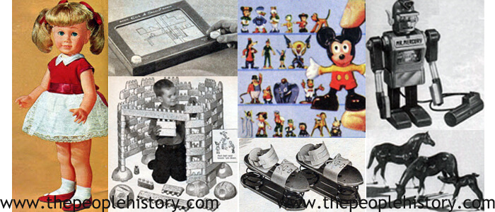 1962 Toys including Chatty Cathy Doll, Etch A Sketch, Flintstones Building Boulders, Disneykins, Satellite Jumping Shoes, Mr. Mercury, Horse Figures