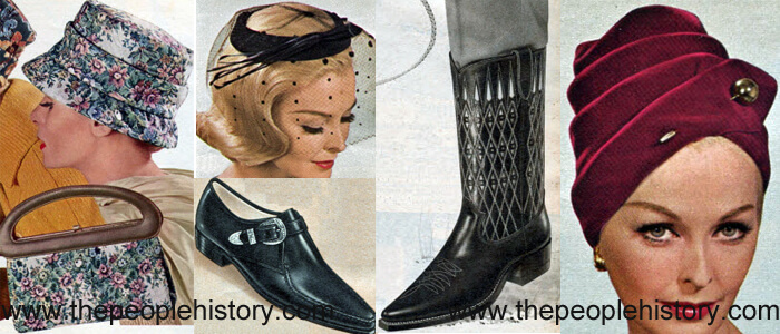 Fashion Accessories Examples From 1963 Tapestry Hat and Bag, Velvet Ringlet, Buckle Oxford, Needletoe Western Boot, Draped Turban