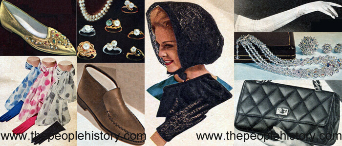 Fashion Accessories Examples From 1964 Ornamented Flattie, Glove and Scarf Set, Pearl Rings, High Rising Casual Shoe, Nylon Lace Set, Long Gloves, Crystal Set, Quilted Bag
