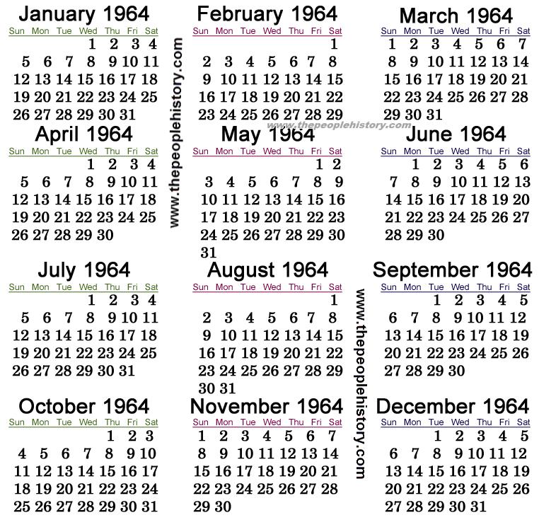 1964 Calendar
