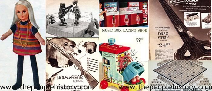 1964 Toys including Scoobadoo Doll, Rock Em Sock Em Robots, Bop A Bear, Play Kitchen, Music Box Shoe, Drag Racing Strip, Scrabble