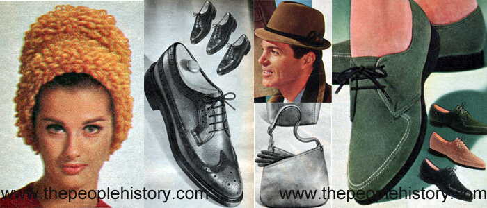 Fashion Accessories Examples From 1965 Knit Cloche, Wing Tip Shoes, Tapered Center Crease Hat, Shoulder Pouch, Oxford Shoe