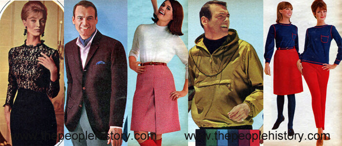Fashion Clothing Examples From 1965 Lace Sheath Dress, Wrinkle Shy Blazer, Houndstooth Skirt, Wind Jacket, French Inspired Separates