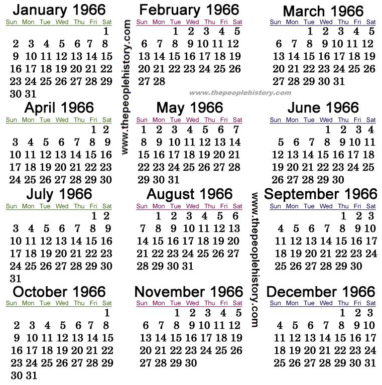 1966 Calendar