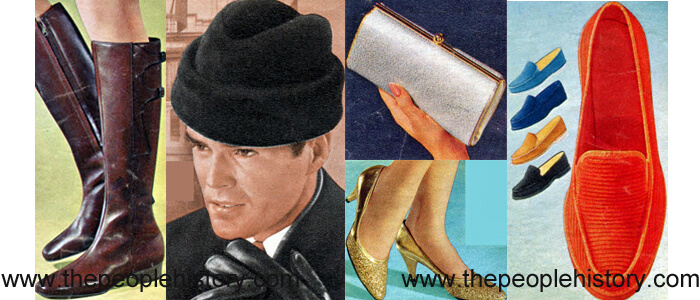 Fashion Accessories Examples From 1967 Buckle Side Boot, Envoy Style Cap, Metallic Clutch, Sparkle Party Shoes, Corduroy Slip On