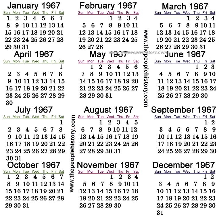 1967 Calendar