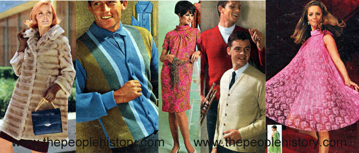 Fashion Clothing Examples From 1967 A-Line Fur Look Coat, Bold Panel Stripe Shirt, Paisley Shift Dress, Jacquard Sweater, Pleated Tent Dress