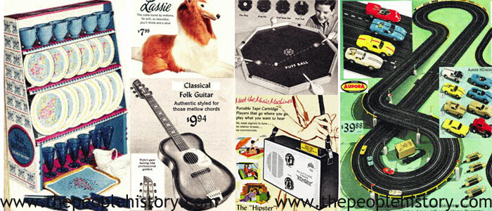 1967 Toys including Play Tea Set, Lassie Soft Toy, Classical Guitar, Puffball Game, Portable Tape Player, Aurora Race Track