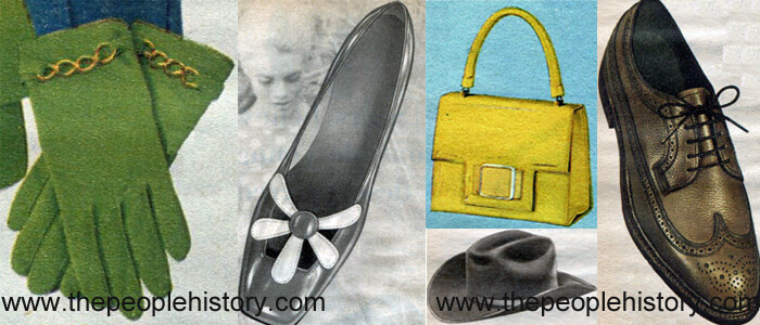 Fashion Accessories Examples From 1968 Green Gloves, Flower Trim Shoe, Patent Handbag, Western Hat, Wing Tip Oxford