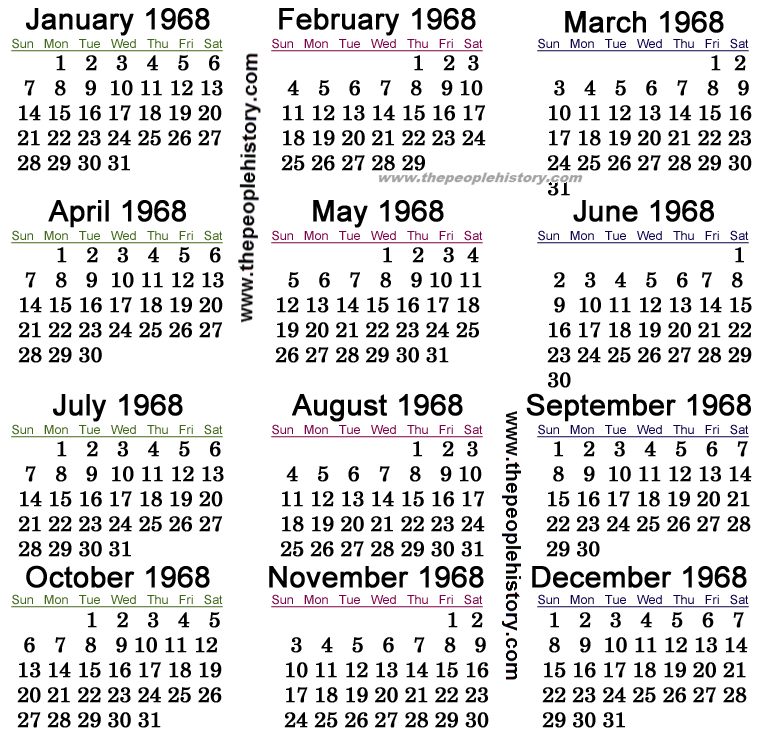 1968 Calendar