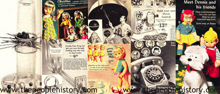 1968 Toys including Kerplunk Game, Christina Doll, Hot Wheels Track, Home Planetarium, Baby Steps Doll, Film Projector, Peanuts Talking Telephone, Dennis the Menace Toys