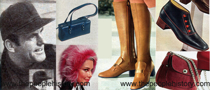 Fashion Accessories Examples From 1969 Fastback Style Cap, East West Bag, Cuffed Hood, Strapped Vamp Boot, Four Button Dandy Boot, Shoulder Bag
