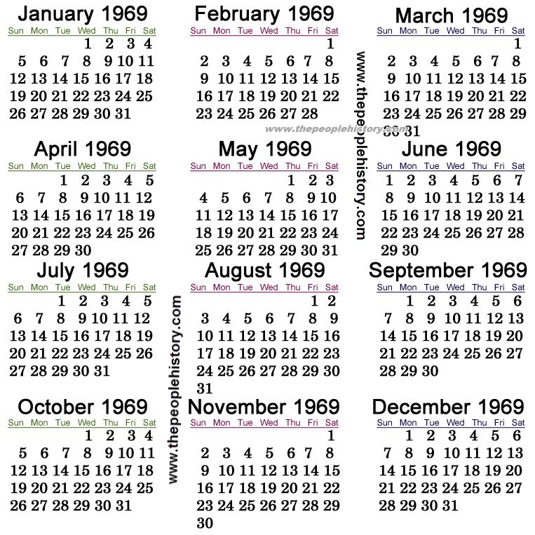 1969 Calendar