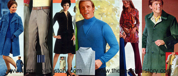 Fashion Clothing Examples From 1969 Houndstooth Ensemble, Striped Flared Denim, Leopard Accent Dress, Layered Mock Turtleneck, Print Tunic and Flared Pant, Corduroy Coat