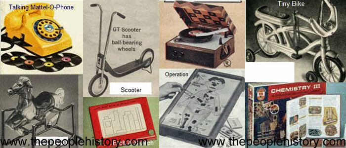 1971 Toys including  Malibu Barbie, Tumblestone Maker, Rocking Horse, Etch A Sketch, Game Of Operation, Phonograph / Record Player, Scooter, NFL Hockey Game, Hot Wheels, Battleship, Rebound,