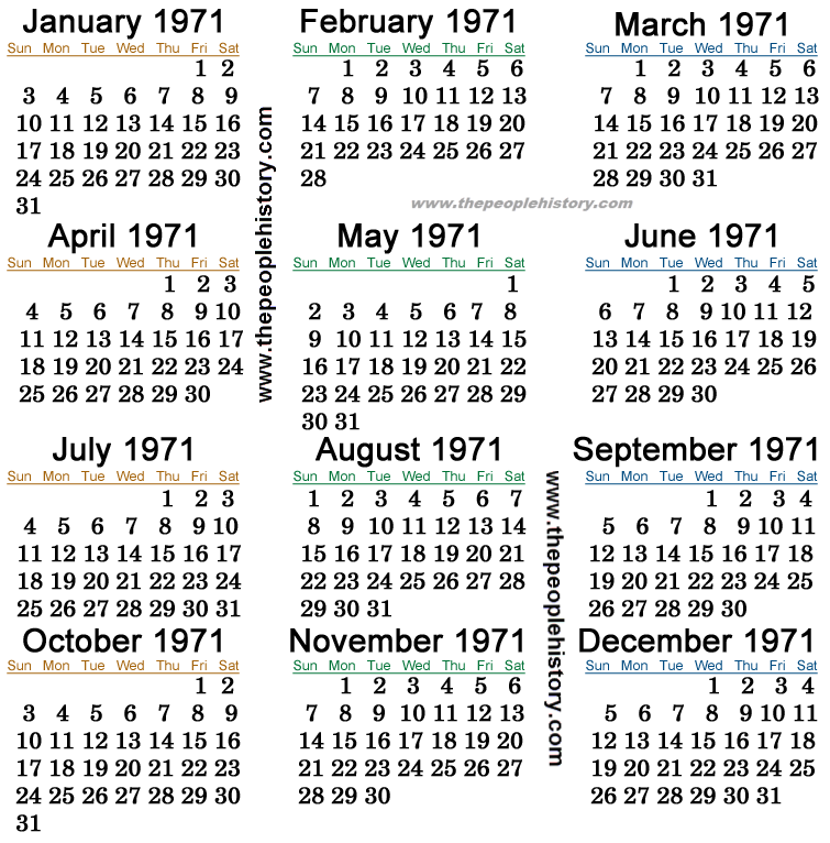 1971 Calendar