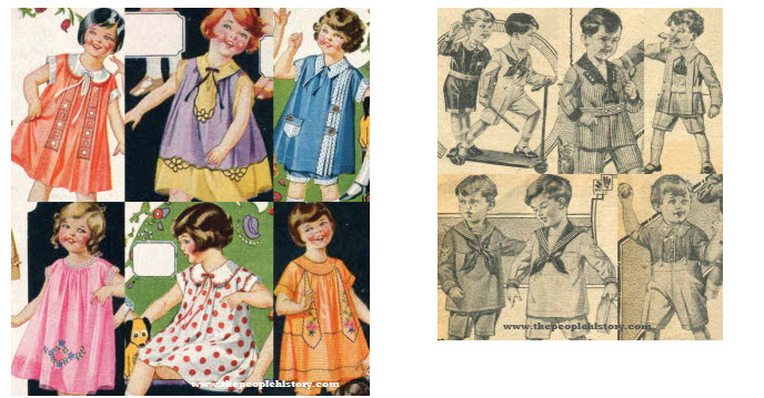 Girls and Boys 1920s Fashion kidswear Examples