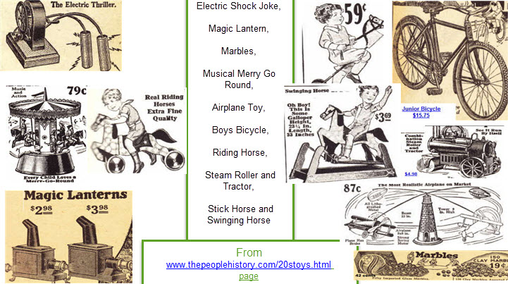 1920s toys including Electric Shock Joke, Magic Lantern, Marbles, Musical Merry Go Round, Airplane Toy,  Boys Bicycle, Riding Horse, Steam Roller and Tractor, Stick Horse, Swinging Horse  From www.thepeoplehistory.com/20stoys.html page