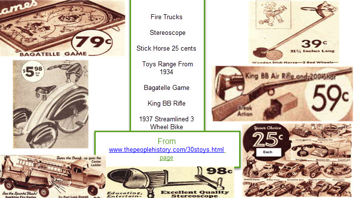 1930s toys including Fire Trucks, Stereoscope, Stick Horse, 25 cents Toys Range From 1934, Bagatelle Game, King BB Rifle, 1937 Streamlined 3 Wheel Bike  From www.thepeoplehistory.com/30stoys.html page