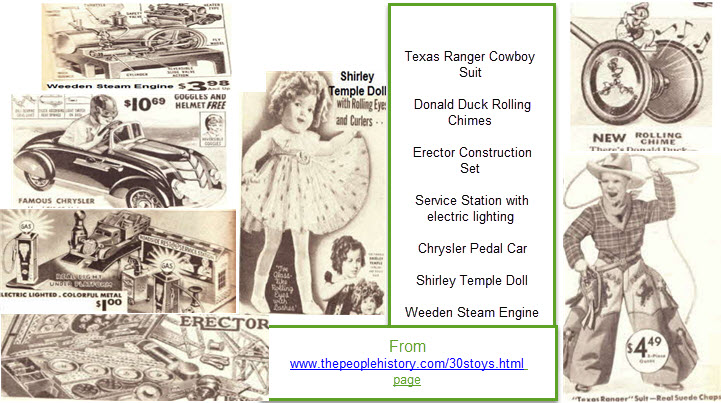 1930s toys including  Texas Ranger Cowboy Suit, Donald Duck Rolling Chimes, Erector Construction Set, Service Station with electric lighting, Chrysler Pedal Car, Shirley Temple Doll, Weeden Steam Engine   From www.thepeoplehistory.com/30stoys.html page